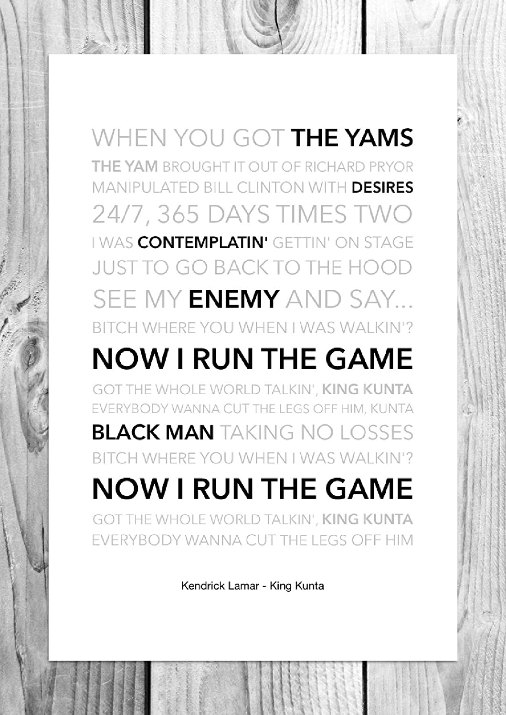 Kendrick Lamar King Kunta Funky Lyric Art Print A4 Size X8 T Shirt M Kitchen Home
