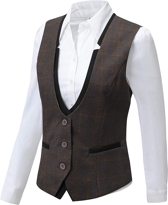 Vocni Women V-Neck Slim Fit Business Office Bottoned Dressy Suit Vest Waistcoat