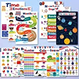 Educational Preschool Posters for Kids 12Pcs, Toddlers Learning Charts for Homeschool Kindergarten Classroom Decorations, Alp