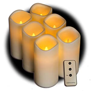 Set of 6 Outdoor 3x6 Waterproof Resin Candles with Timer and Remote and C Batteries Included