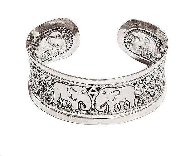 Treasurebay - Pulsera De Plata De Ley 925 Con Diseño De Elefante Abierto De 20 Mm Para Mujer