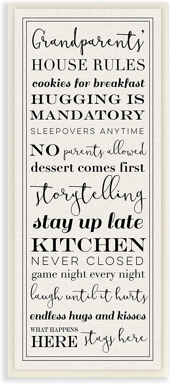 Stupell Industries Grandparents House Rules Wall Plaque, 7 x 17, Multi-Color
