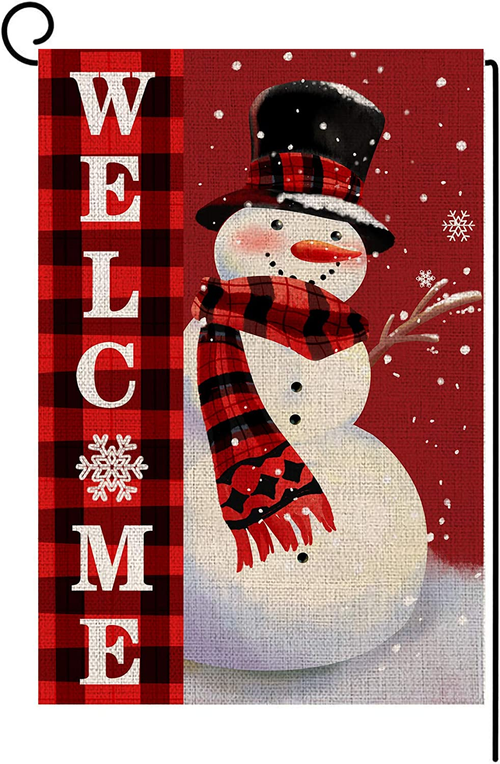 LANMEI Welcome Christmas Garden Flag Double Sided Snowman with Buffalo Plaid Scarf Garden Flag, Winter Christmas Rustic Yard Outdoor Decoration 12.5 x 18 Inch