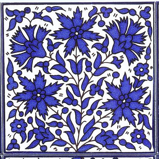 Orientalische Fliese handbemalte Keramikfliese Isa-8 14,8 x 14,8 cm Kunsthandwerk aus Pal/ästina Wandfliese f/ür sch/öne K/üche Dusche Badezimmer Dekoration FL8308