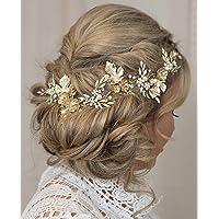 Kercisbeauty Gold Flower Leaf Vintage Headband Rhinestones Pearl Hair Vine Bridal Tiara Rustic Wedding Headpiece for Brides Women Dancing Ball Handmade Jewelry