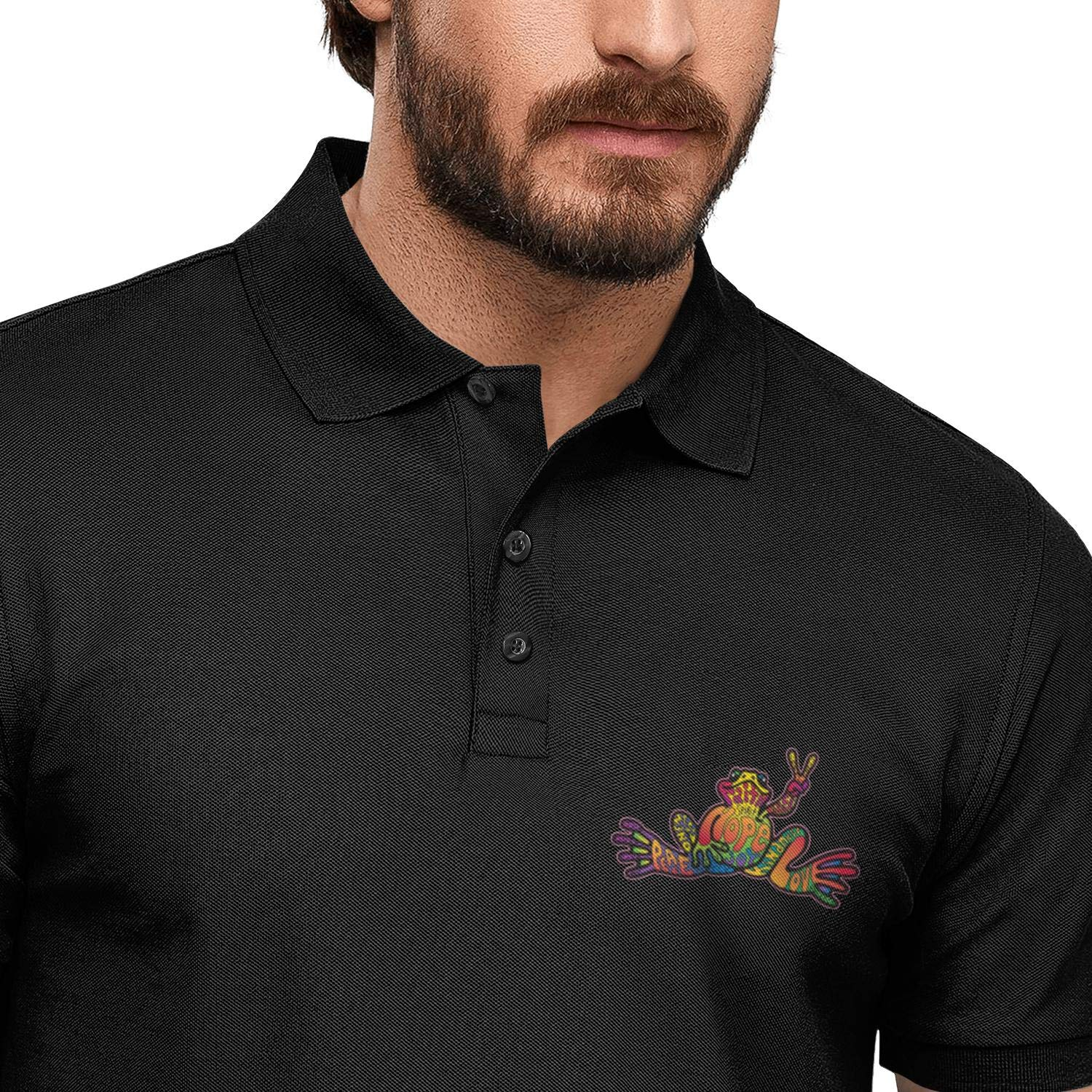 WYFEN Men Printed Polo Shirt American Hippie Psychedelic Art Quotes Peace Frog Classic Short Sleeve Tee