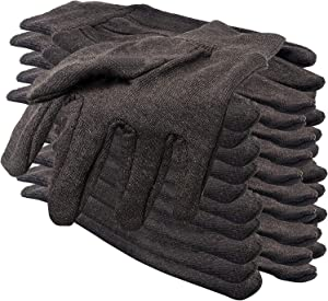 """Women Brown Jersey Work Gloves 9.5"""" Pack of 24. Reusable and Washable Work Gloves with Elastic Knit Wrist. Cotton Polyester Gloves 10 Oz. Plain Breathable Gloves. Work Gloves Women. Comfortable Fit."""