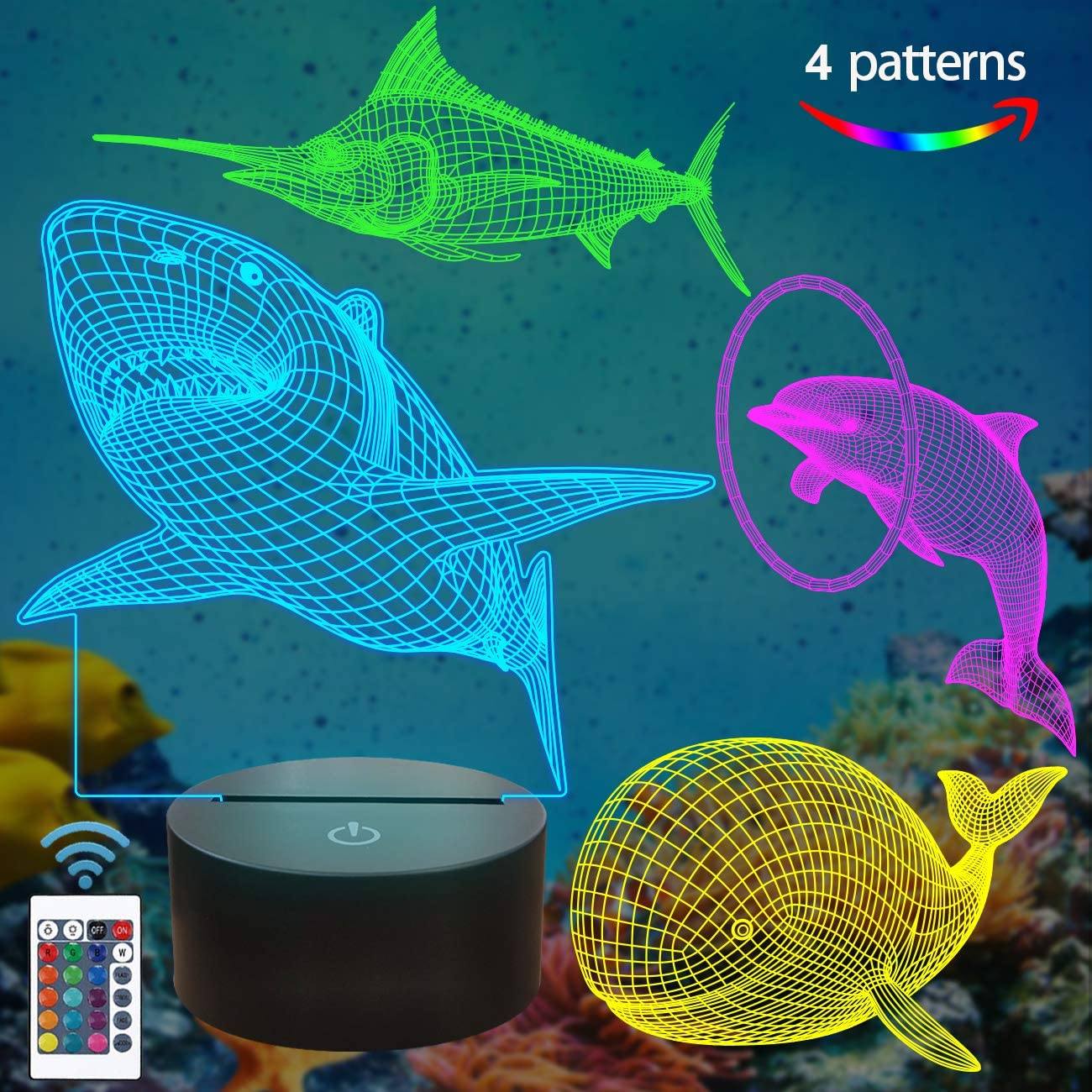 Lampeez Ocean Sea Animals 3D Lamp Kits,Dolphin, Marlin,Shark,Whale 3D Night Light for Kids (4 Patterns) with Remote Control & 16 Colors Changing & Dimmable Function & Xmas Birthday Gifts for Boy Girl