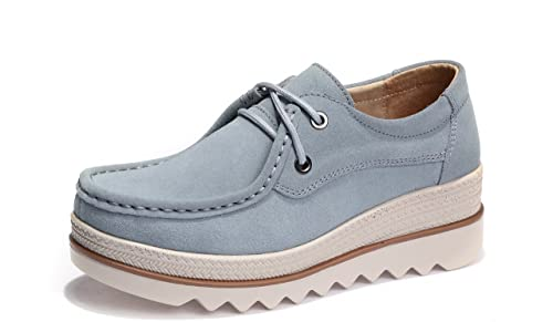 Mocasines de Loafer, Mujer Plataforma Flat Casual Primavera Verano Zapatos de Cuña 5cm Zapatillas Gris 39: Amazon.es: Zapatos y complementos