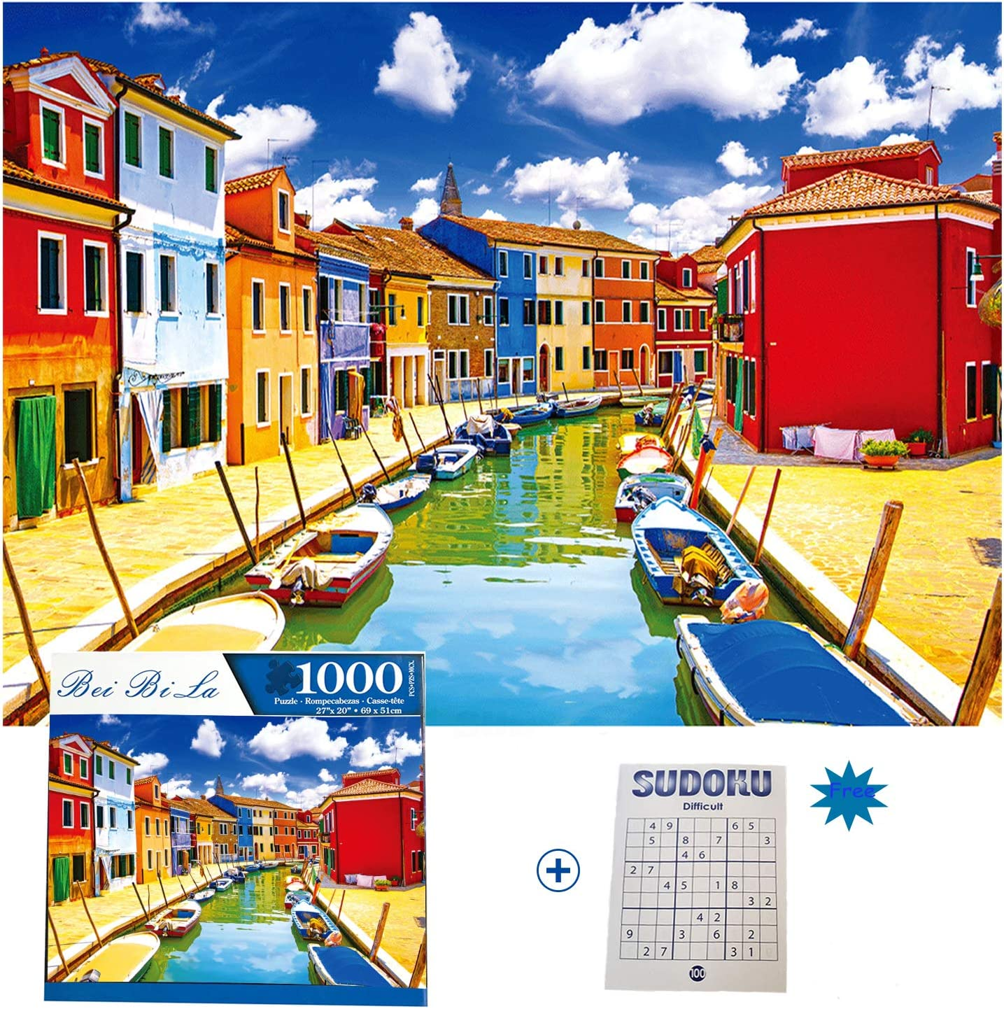 1000 Pieces Jigsaw Puzzles for Adults Kids Boys Girls,Wharf Town,Intellective Educational Decompression Gift Fun Interesting Family Parent Child Cooperative Game with 100 Pages Sudoku Books