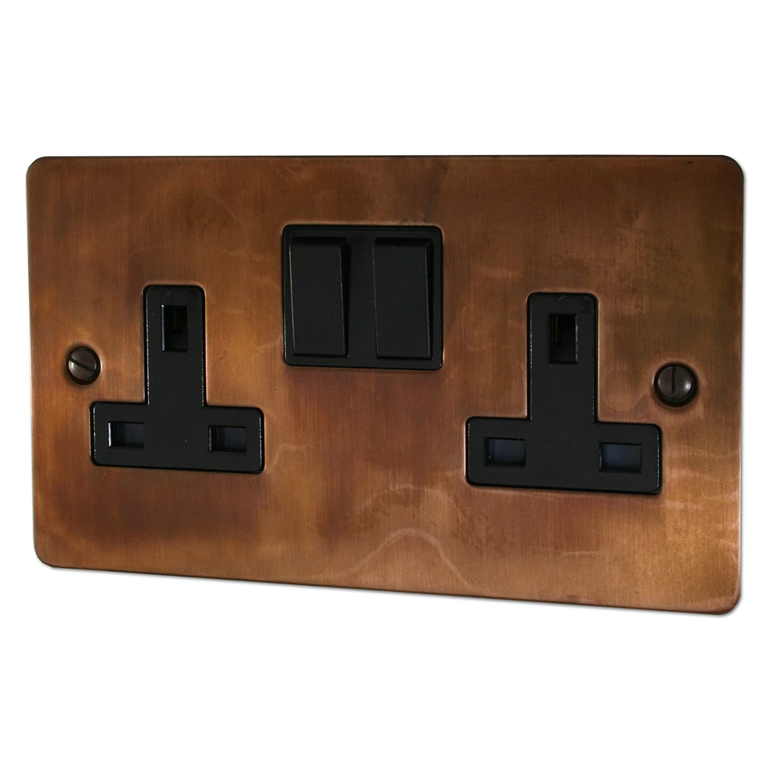 Flat Tarnished Copper Double Socket (Black Switch) - FTC10B G&H Brassware