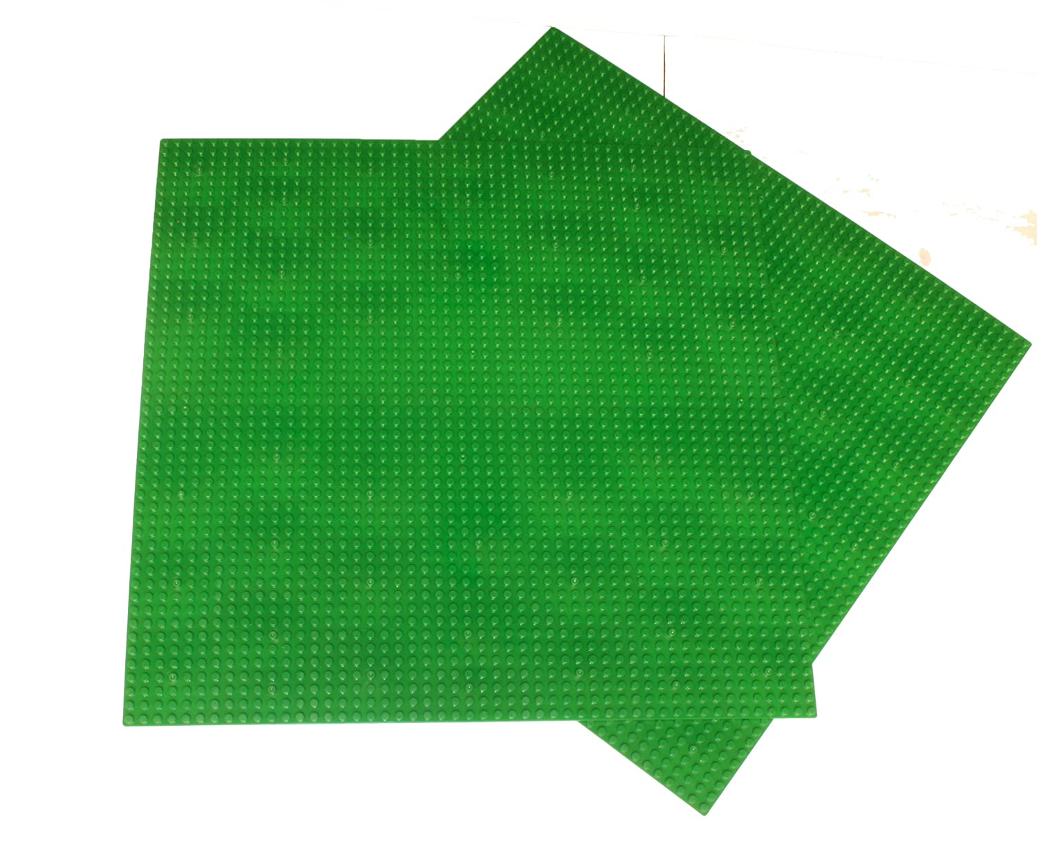 "2 Pack Green Generic Compatible X-large Baseplate, Building Base Plate, 50x50 Studs (15""x15""),construction Base Plates, 50x50 Studs (15""x15""), Great for Activity Table or Displaying Construction Toy"