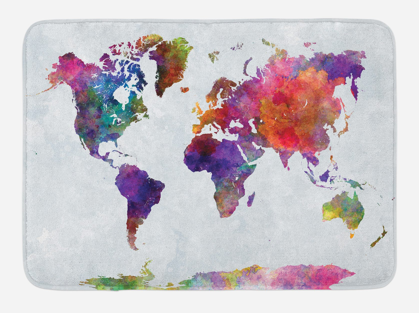 Ambesonne Watercolor Bath Mat, Multicolored Hand Drawn World Map Asia Europe Africa America Geography Print, Plush Bathroom Decor Mat with Non Slip Backing, 29.5 W X 17.5 W Inches, Multicolor