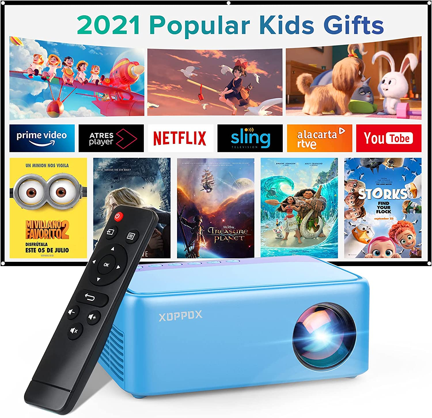Mini Projector, Portable Projector, XOPPOX Video Projector for Cartoon, kids gifts, Outdoor Movie Projector, LED Pocket Pico Movie Projector for Home Phone Projector with HDMI/USB/Audio/AV Interfaces