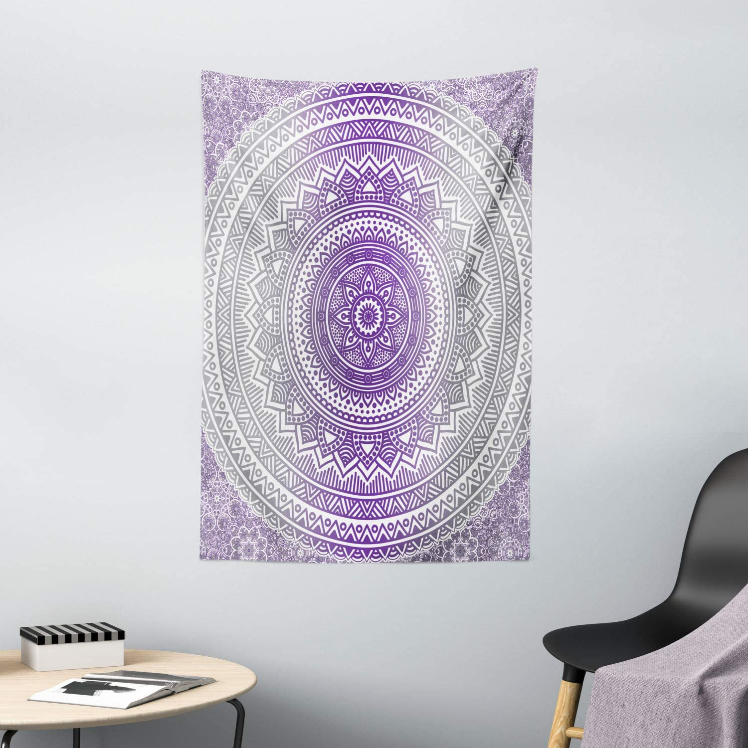 """Ambesonne Grey and Purple Tapestry, Eastern Traditional of Cosmos Pattern Boho Ombre Mandala Design Print, Wall Hanging for Bedroom Living Room Dorm Decor, 40"""" X 60"""", Purple Grey"""