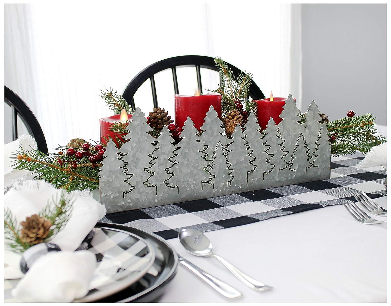 AuldHome Christmas Tree Galvanized Tray, Farmhouse Decor Theme Metal Silhouette Tray, 16 x 4 x 6 inches