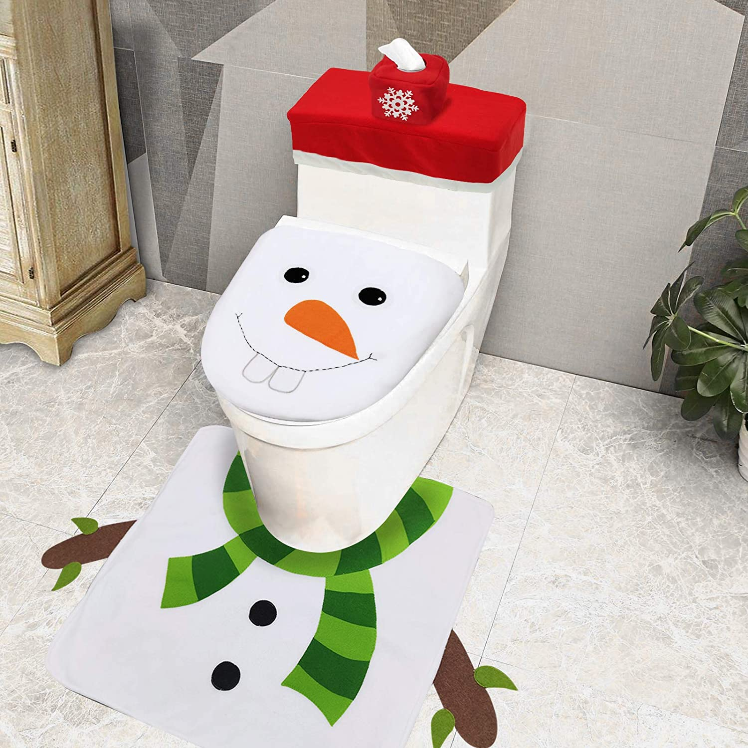 TURNMEON 4 Pieces Christmas 3D Snowman Toilet Seat Cover Christmas Decor Double Sided Funny Christmas Toilet Seat Lid Cover and Thicken Rug Set Christmas Bathroom Decor Home Indoor Xmas Decor White