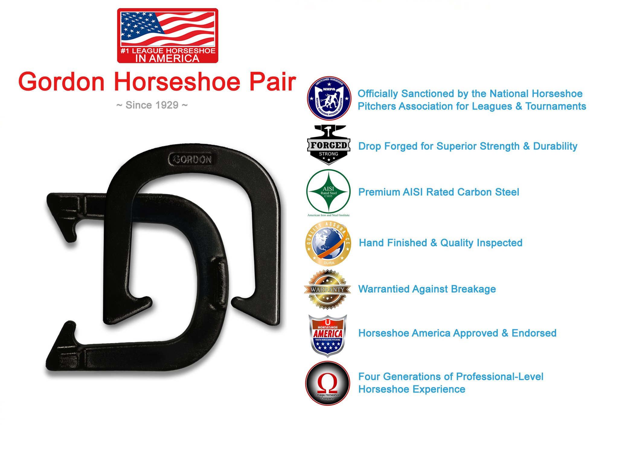 Gordon Professional Pitching Horseshoes - NHPA Sanctioned for Tournament Play - Drop Forged Construction - One Pair (2 Shoes) - Black Finish - Medium Weight by Gordon Horseshoes
