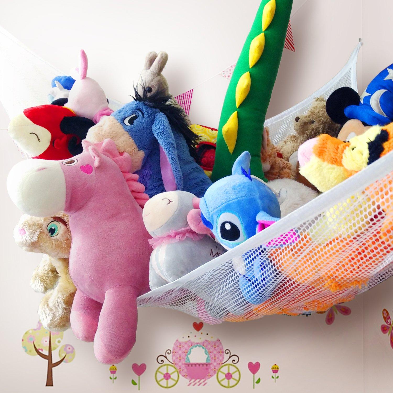 Zebrum Toy Hammock for Stuffed Animals, 80'' Jumbo Strong Mesh Toy Organizer with Metal Hooks, Extra large Triangular Hanging Storage Net (White)