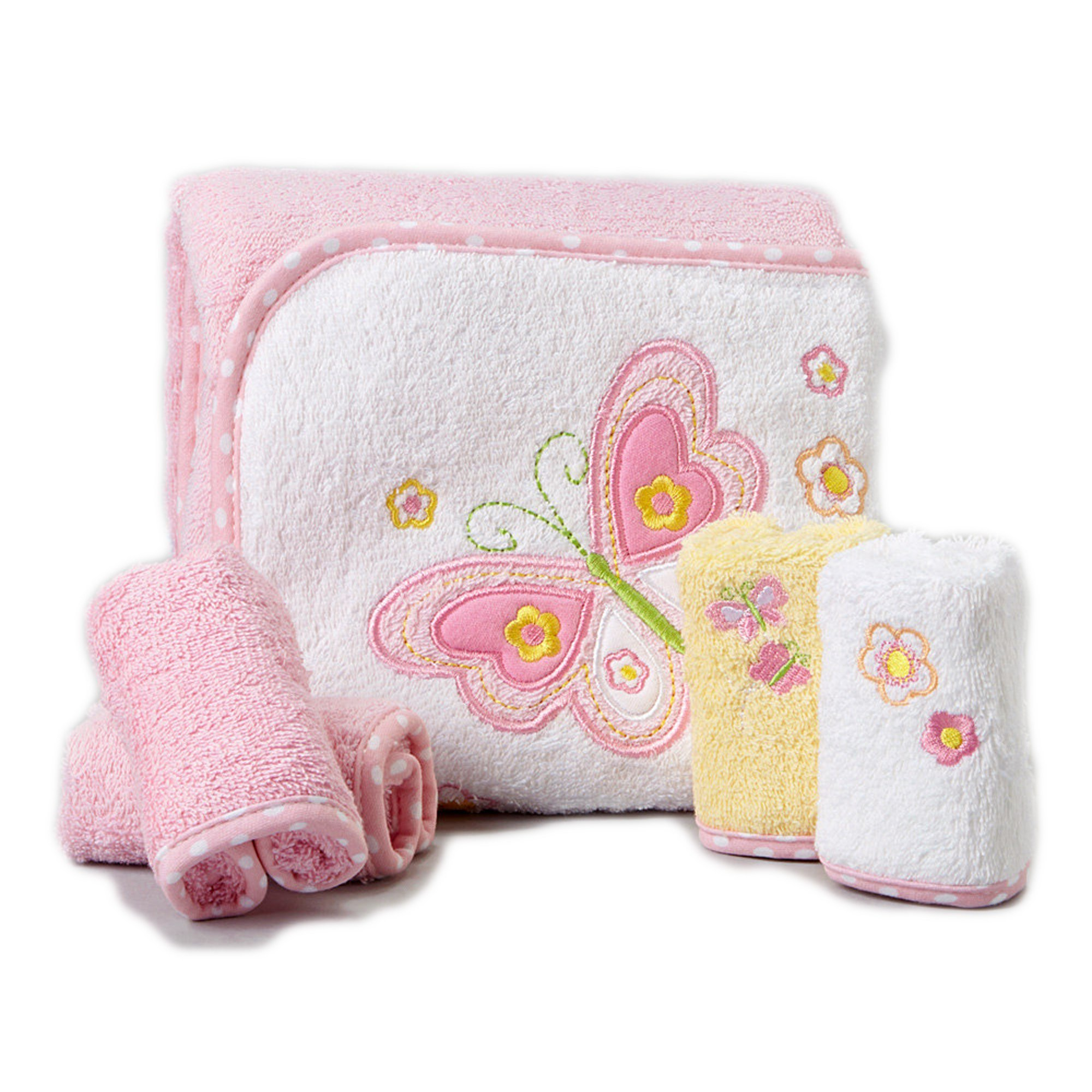 Spasilk 100% Cotton Hooded Terry Bath Towel with 4 Washcloths, Pink Butterfly