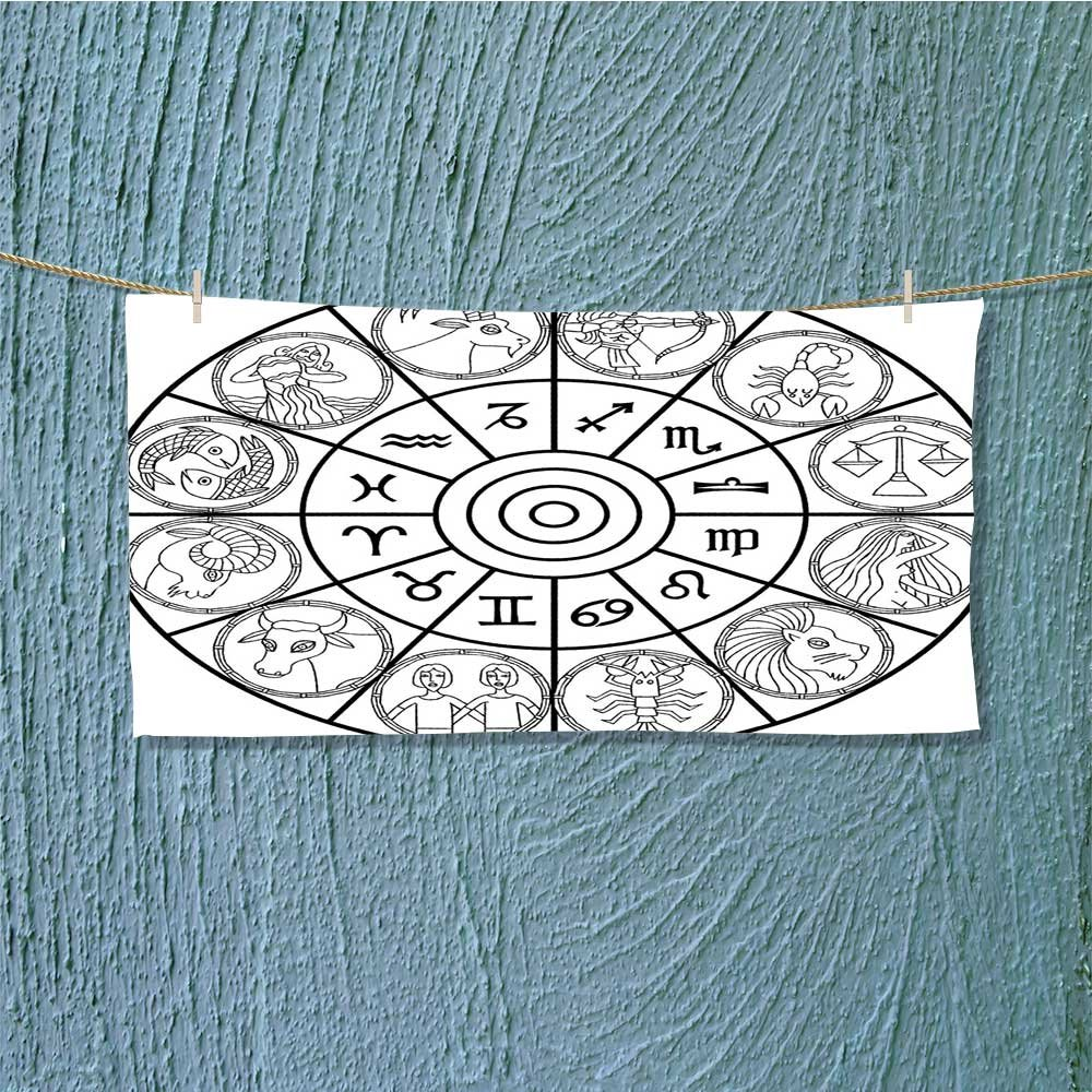also easy Camping Microfiber Towel with Signs Ecliptic Coordinate System Birth Chart of Solar Print Black White for Maximum Softness L27.5 x W11.8 inch