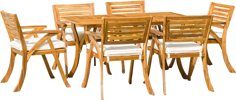 Amazon Com Christopher Knight Home Hermosa Acacia Dining Set 7 Pcs Set Teak Finish Garden Outdoor