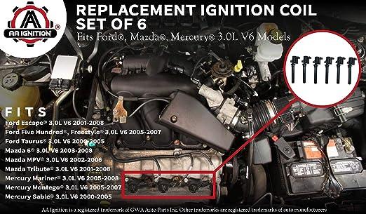 Amazon.com: Ignition Coil Pack Set of 6 - Compatible with Ford, Mazda,  Mercury 3.0L V6 Models - Replaces 18LZ-12029-AB, 18LZ-12029-AA,  2M2Z-12029-AC, DG500, DG513 - Fits 01, 02, 2003, 2004, 2005 Escape, Taurus:  Automotive   2003 Mazda 6 Engine Diagram Coils      Amazon.com