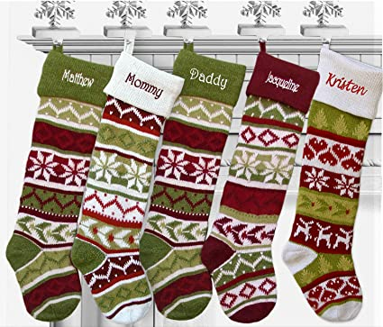 Set Of 5 Oversized 28 Knitted Christmas Stockings Fairisle Knit Monogram Choose Your Designs Embroidered With Choice Of Your Names