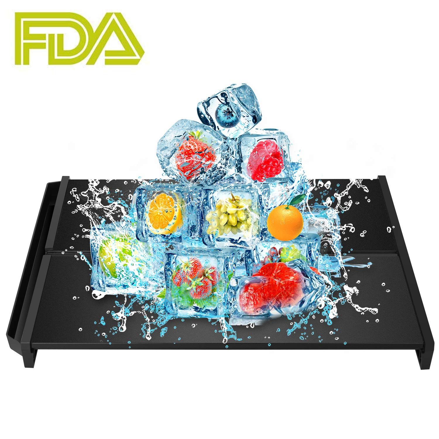 Rapid Thaw Defrosting Tray Fujiway Thawing Plate Board for Frozen Food Fast Meat Defrosting Tray Quickly without Electricity Microwave Hot Water or Any Other Tools