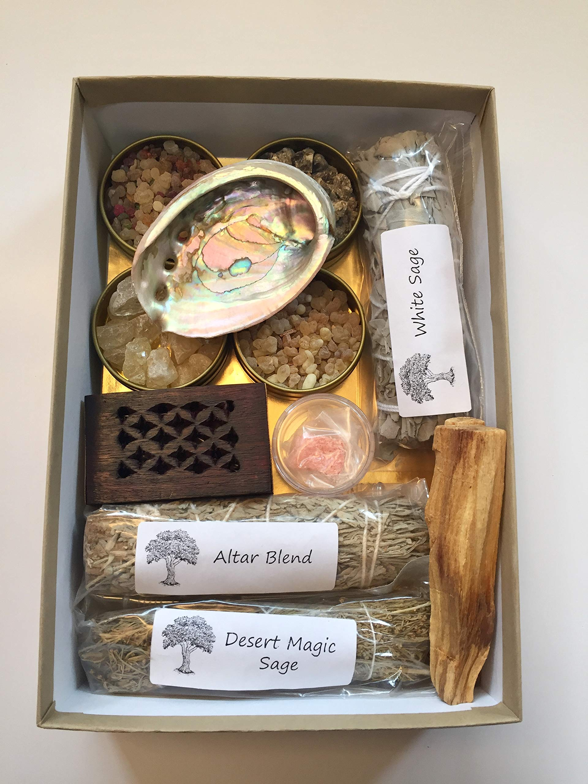 Resin Incense and Sage Smudges Variety Gift Kit includes, Amber Resin, Rose Resin, White Copal, Mystical Benzoin, Frankincense, White Sage Smudge, Desert Sage, Palo Santo Sticks and Abalone Shell by Sacred Scents For You (Image #1)