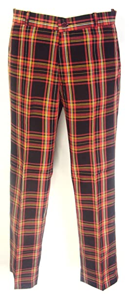 f77a8d71e3 Rojo de Cuadros Escoceses de Botón Pantalones diseño roquero de Mod Sta  Hexbug Oruga  Amazon.es  Ropa y accesorios