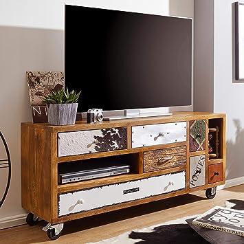 KS-Furniture Nepal - Mueble para televisor (Madera Maciza, 130 x 40 x 60 cm, 7 cajones, con Ruedas): Amazon.es: Juguetes y juegos