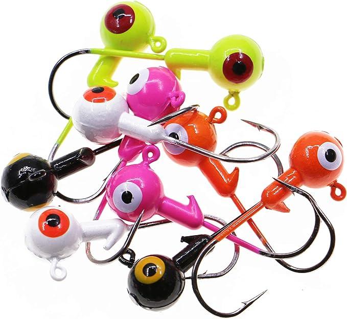 Ball Jig Head Sharp Hook Shot  Plastic Luminous  Baits Fishing Fishhook N3