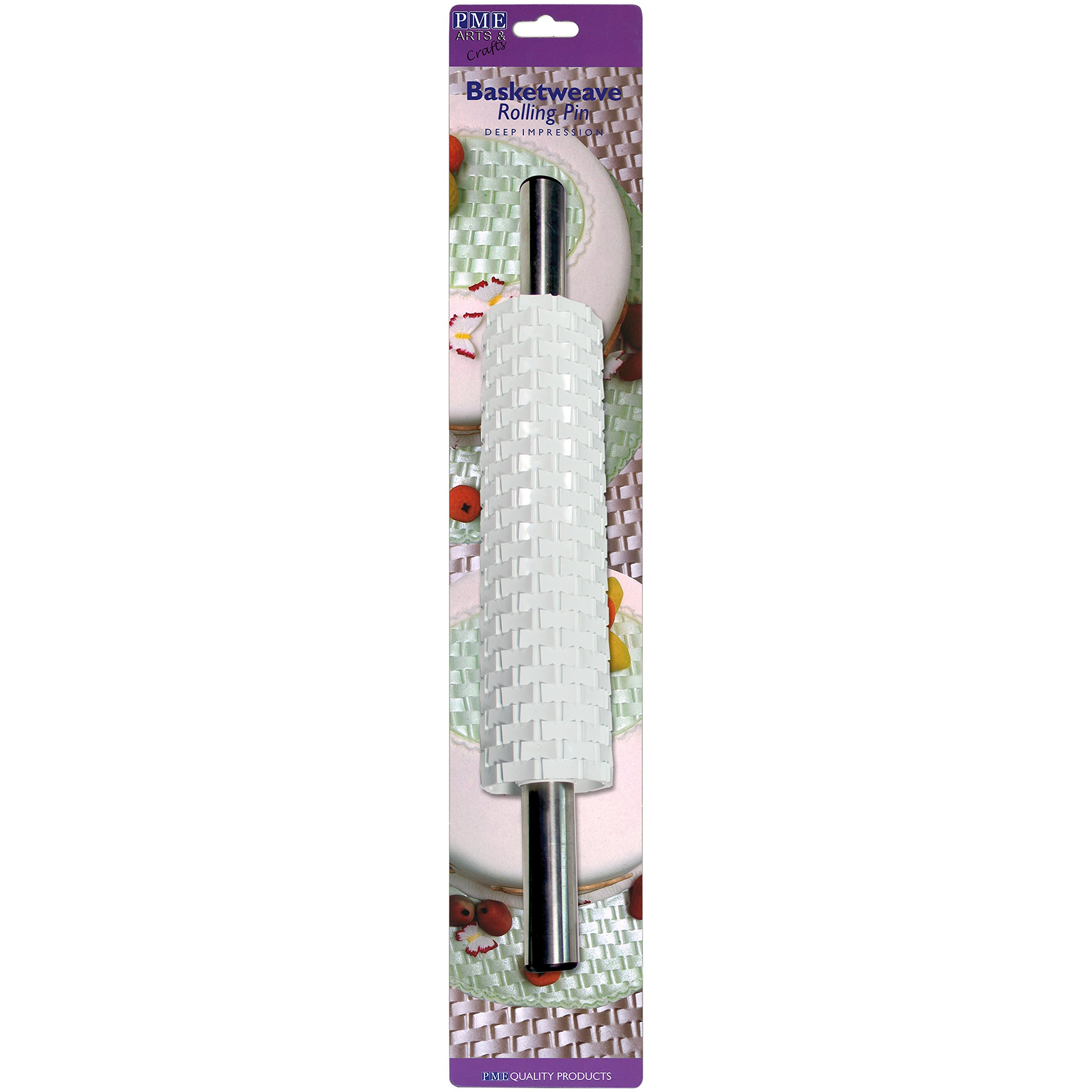 PME BW89 Deep Impression Basketweave Rolling Pin for Fondant Cake Decorating-15 Standard White