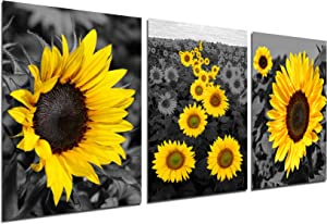 Sunflower Decor Canvas Wall Picture - Golden Blossom Flower Nature Scenery Picture Rustic Home Decorations Floral Painting Yellow Bathroom Accessories Black White Landscape Prints 12''x16'' Unframed