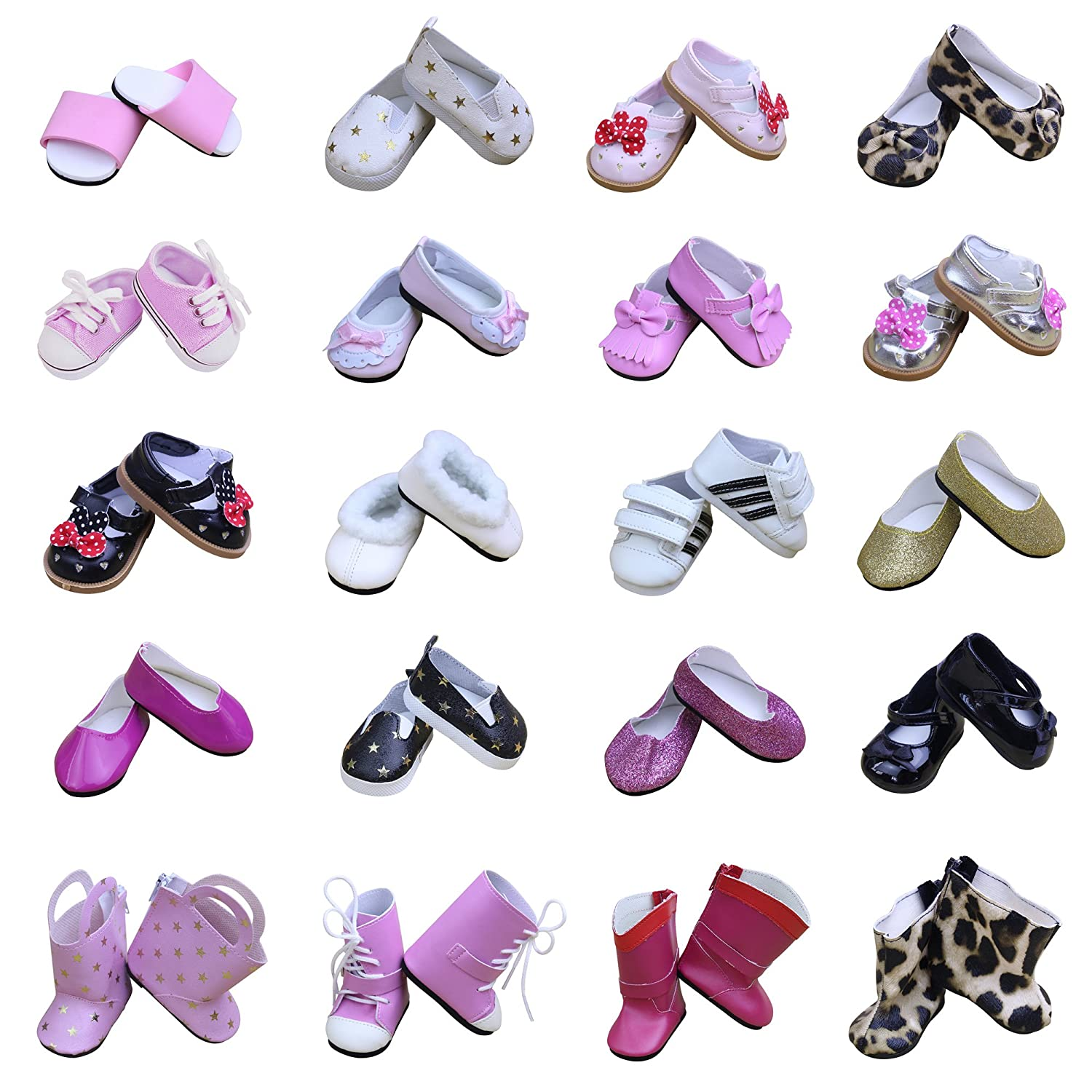 ZITA ELEMENT 5 Pairs Various Assortment Party Shoes for American 18 Inch Girl Doll Outfits and Other 18 Dolls Clothes Accessories