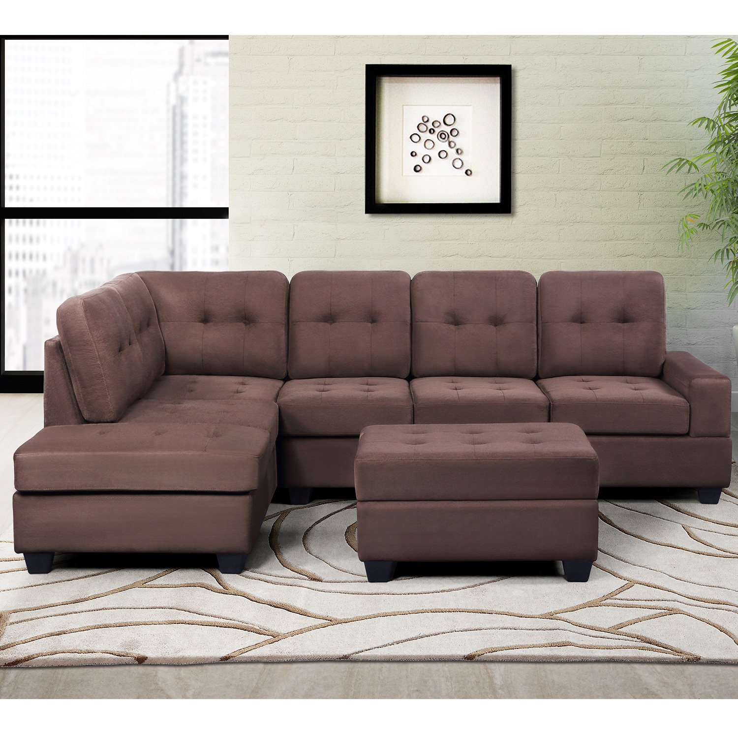 Harper & Bright Designs 3 Piece Sectional Sofa Microfiber with Reversible Chaise Lounge Storage Ottoman and Cup Holders
