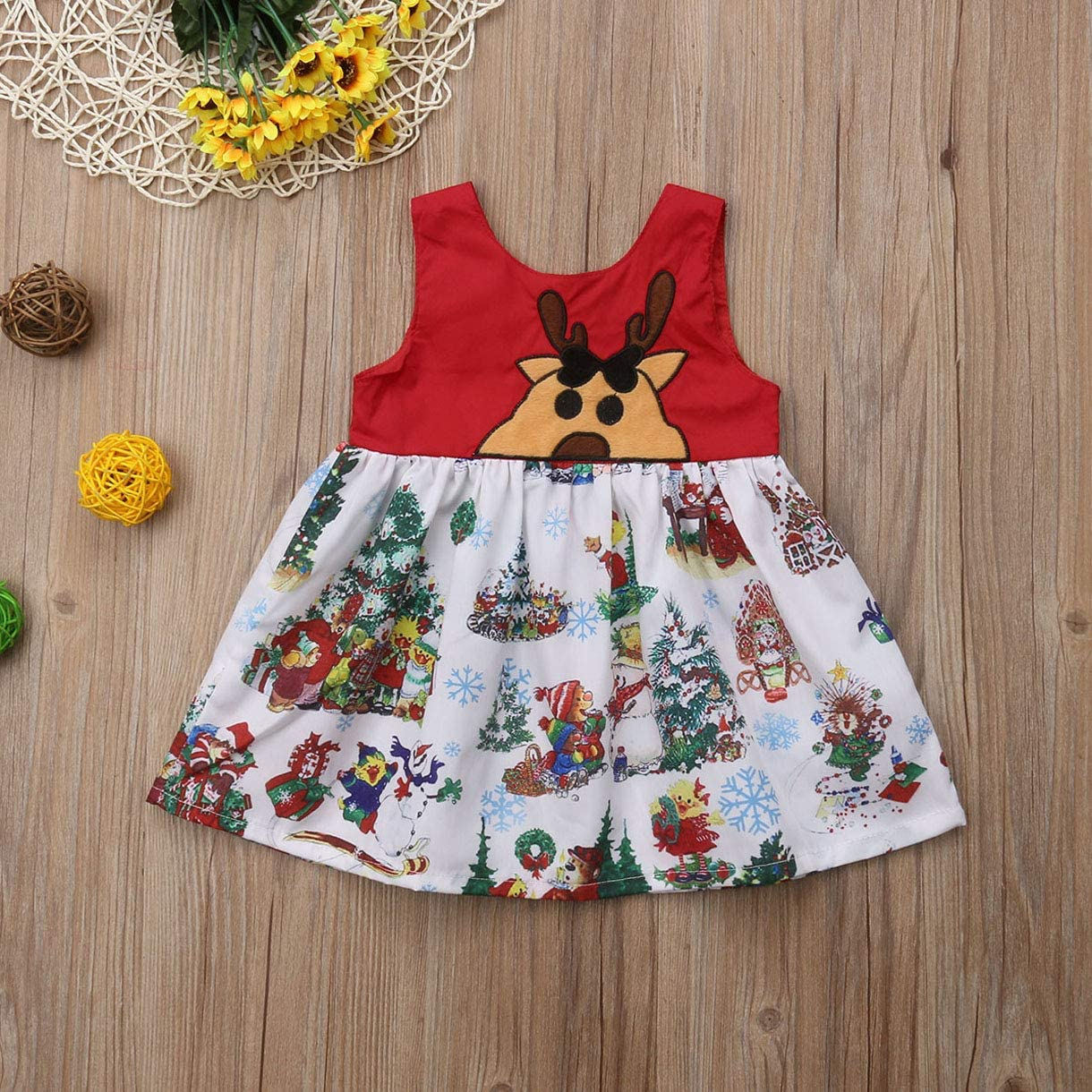 Qinngsha Newborn Kid Baby Girl Infant Tutu Dress Outfit Christmas Party Cute Clothes Infant Toddler Baby Kid Elk Xmas Party Tutu Princess Dress Sundress Clothes
