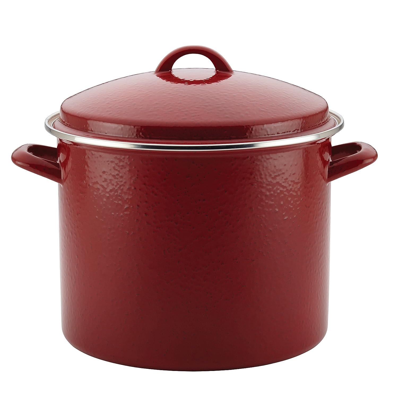 Paula Deen 46324 Enamel on Steel Stockpot, 12 quart, Red Speckle