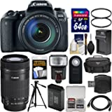Canon EOS 77D Wi-Fi Digital SLR Camera & EF-S 18-135mm IS USM with 55-250mm Lens + 64GB Card + Case + Flash + Battery & Charger + Tripod + Filters Kit