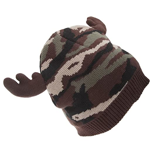 FLOSO Mens Camo Pattern Winter Beanie Hat with Moose Antlers (One Size) ( Camo b6981c70be8