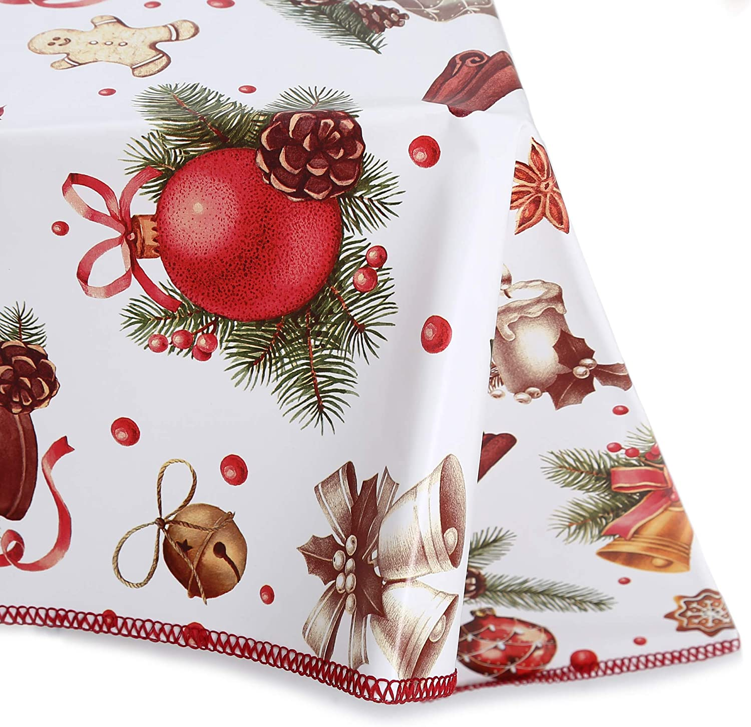 Decoser Heavy Duty Flannel Backed Vinyl Tablecloth with Flannel Backing Easy to Wipe-Clean Oilcloth Waterproof Plastic Rectangle 55x55 inch Table Cover for Christmas Birthday Party