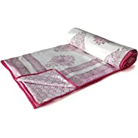 BLOCKS OF INDIA 100% Cotton Dohar King Size Reversible Hand Block Printed Malmal Summer Dohar