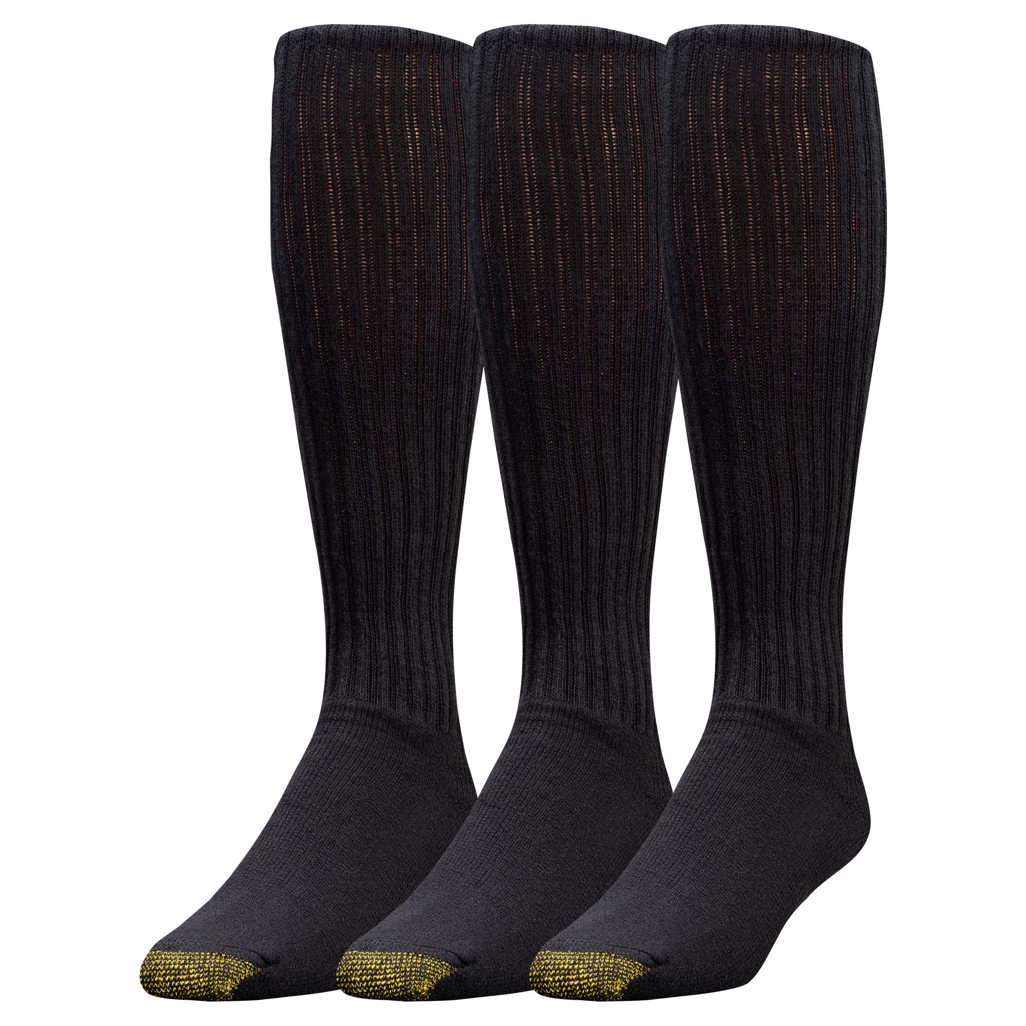 Gold Toe Men's Ultra Tec Performance Over The Calf Athletic Socks, 3-Pack, Black, Shoe Size: 6-12.5 (4 PK 12 PAIRS)