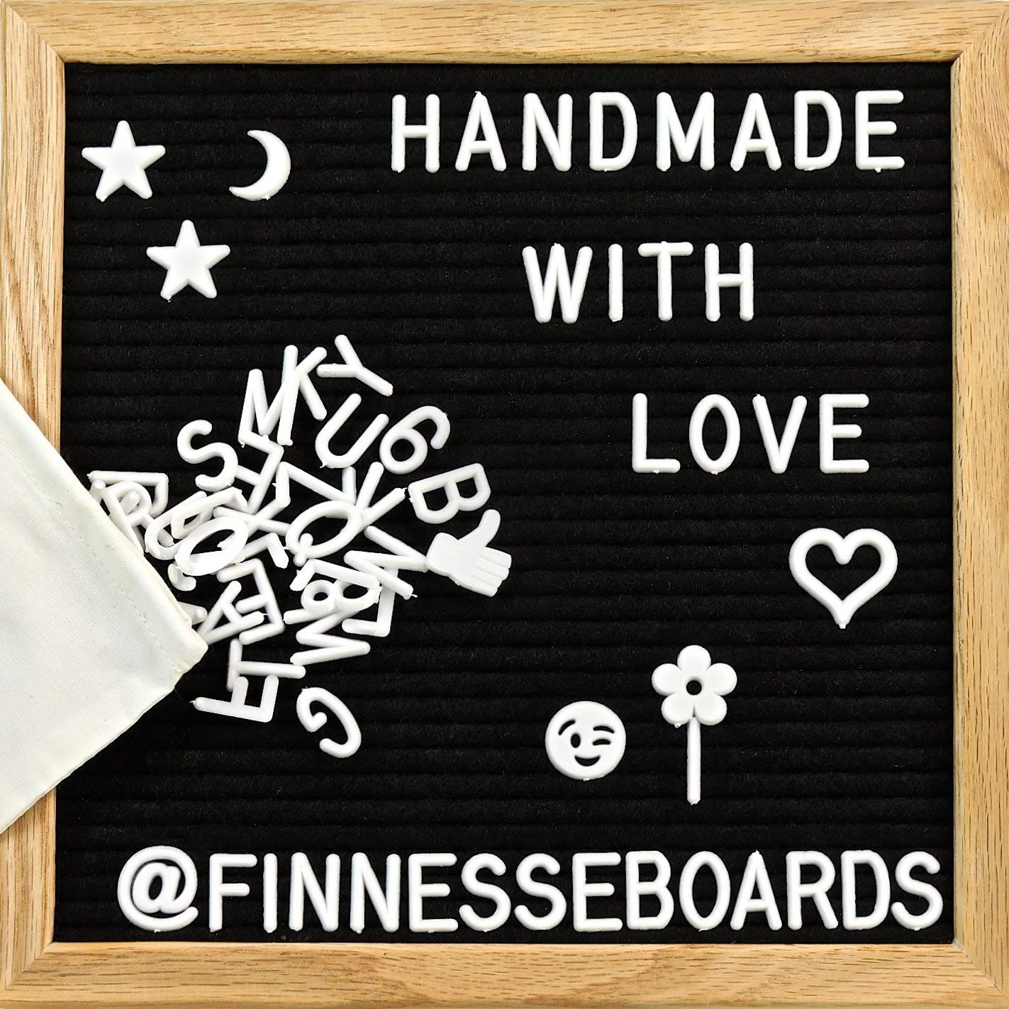 Black Felt Letter Board 10x10 Inches with 346 Changeable Letters, Numbers, Emojis To Display Messages, Thoughts, Remainders- Premium Oak Wood Frame, Wall Mount Hook, Canvas Bag Camtoms board-10x10-black
