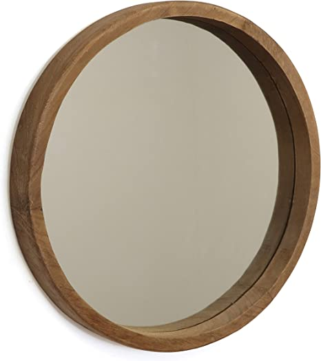 Amazon Com Rutledge King Riverside Wooden Mirror Wood Wall Mirror Rustic Round Mirror Medium Decorative Circle Mirrors For Bathrooms Living Rooms And Bedrooms Single Home Kitchen