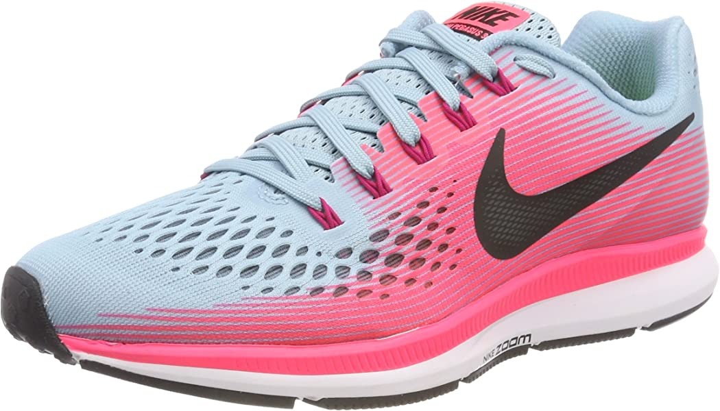 ffc26aa2c67f Nike Women s Air Zoom Pegasus 34 Running Shoe Wide Mica Blue White Racer  Pink