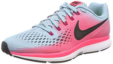 huge discount e9ee4 ff55a Nike Women's Air Zoom Pegasus 34 Running Shoe Wide Mica Blue/White/Racer  Pink/Sport Fuchsia Size 6.5 Wide US