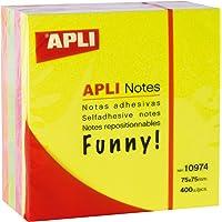 APLI 10974 - Cubo de notas adhesivas (75 x 75), colores flúor
