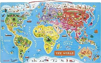 Janod juguete – Puzzle magnético Mapa el mundo Inglés 92 piezas: Amazon.es: Juguetes y juegos